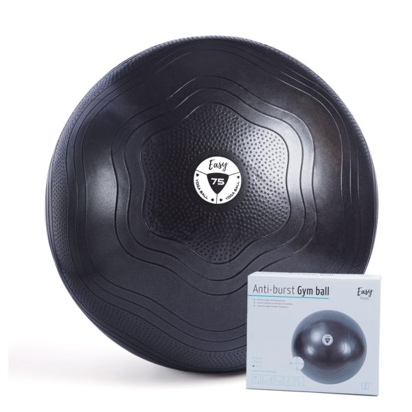 GYM BALL EASY FITNESS : Kolor - Czarny, Pozostałe - 75cm