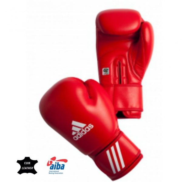 Adidas boxing gloves with AIBA approval red