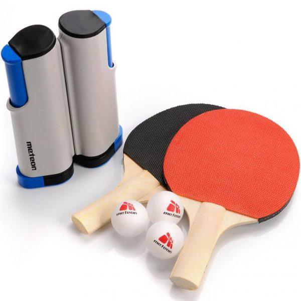 Meteor Rollnet ping pong set 2 rackets 3 balls 15042